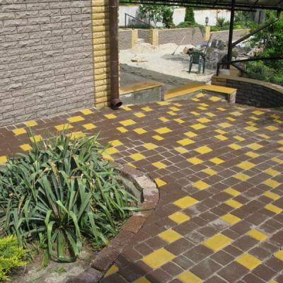 Тротуарная плитка Старый город (1СГ8ф) НОБЕТЕК белый цемент- частичный прокрас, цвет в ассортименте
